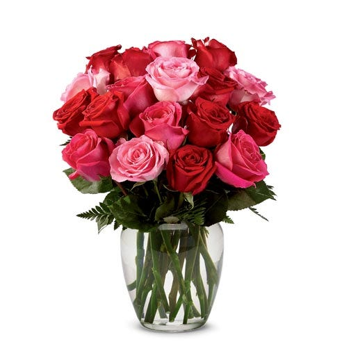 Mixed long stem red and pink roses
