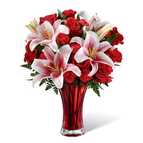 Lily bouquet with same day delivery roses as a valentine day special