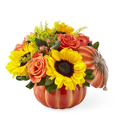 Sunflower pumpkin bouquet arrangement