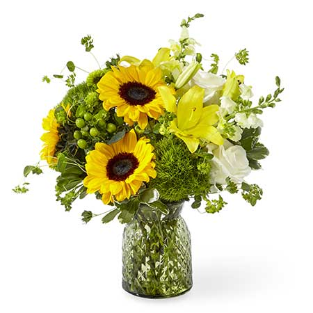 Sunflower bouquet in green flower vase