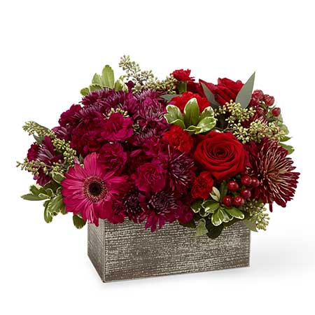 Red rose and hot pink gerbera daisy basket bouquet