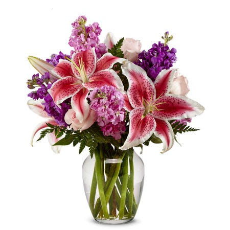 Stargazer lily delivery bouquet with purple stock and pale pink roses