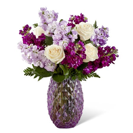 Luxury stock flower arrangement with white roses, lavender and purple stock