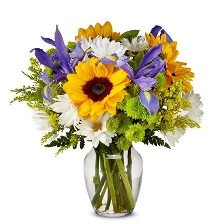 Modern sunflower iris bouquet with summer flowers and cheap flowers