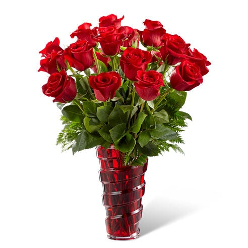 All red rose bouquet in a red vase