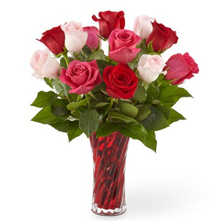 Valentine's Day pink and red luxury mixed rose bouquet same day rose delivery