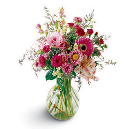 Pink daisy and miniature carnations bouquet with pink daisies and mixed carnations