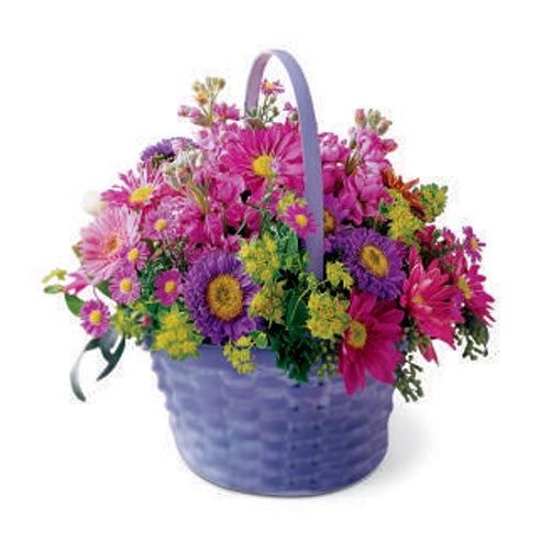 Easter gift ideas and easter baskets delivered with purple basket of cheap flowers