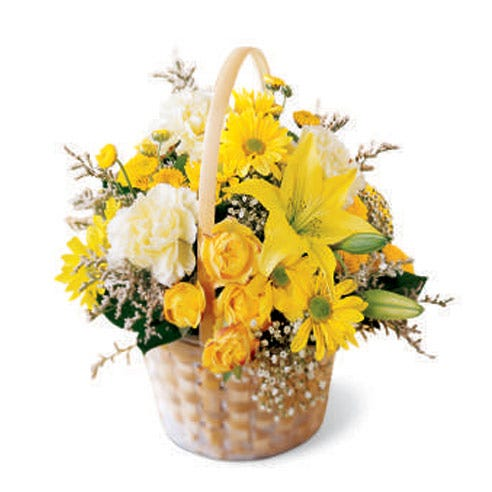 Yellow basket bouquet with yellow lilies, yellow spray roses and yellow daisies