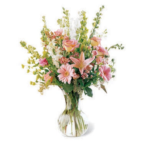 vintage flower bouquet delivery with pink lily, peach roses and gerbera daisy flowers