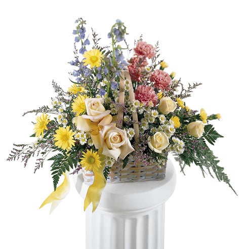 Sympathy flowers basket and unique funeral flower arrangements
