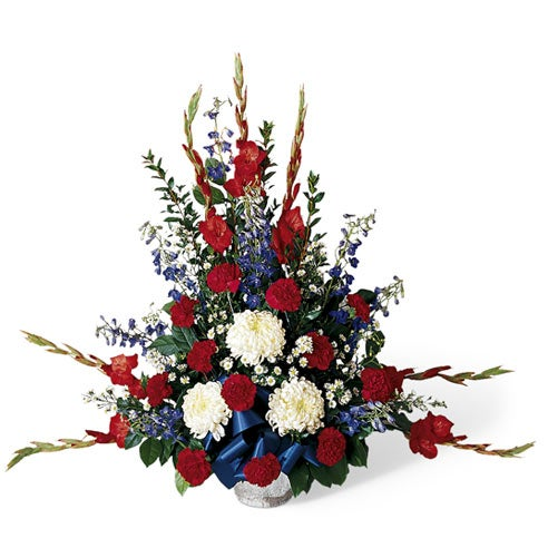 Blue ribbon memorial day flowers for loved one