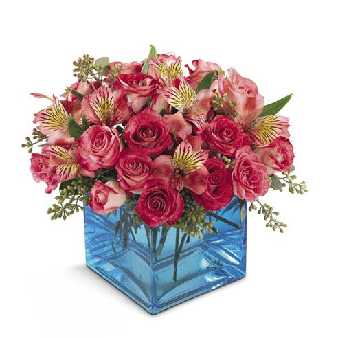 Hot pink spray roses and hot pink alstroemeria flower bouquet with blue vase