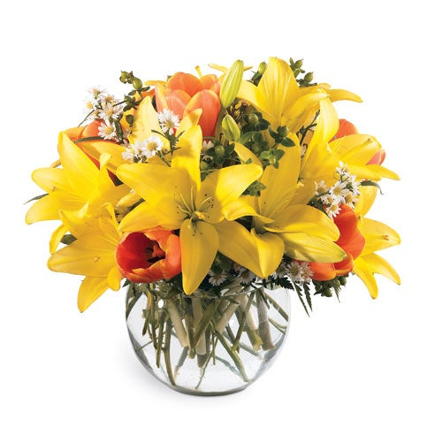 Yellow lily delivery and orange tulip delivery from send flowers com