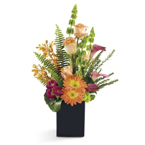 premium flower delivery with peach flowers, mokara orchids, orange gerbera daisy
