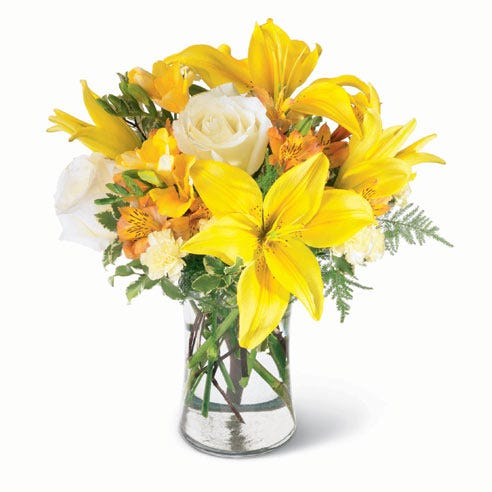 Cheap flowers in yellow lily bouquet with free delivery flowers