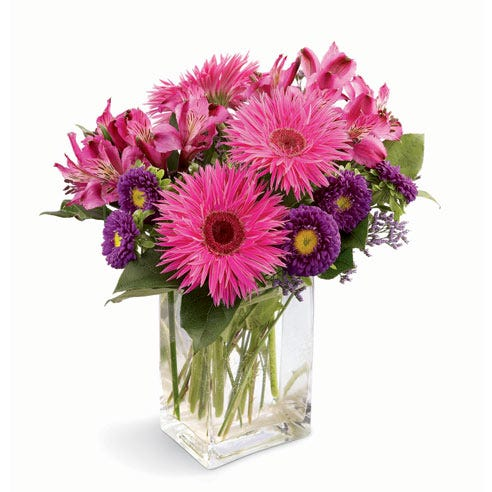 Hot pink spider gerbera daisy bouquet with hot pink alstroemeria and purple mums