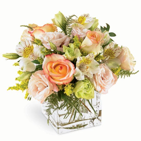Pastel flower bouquet with white alstroemeria pink roses and cream roses for flower delivery