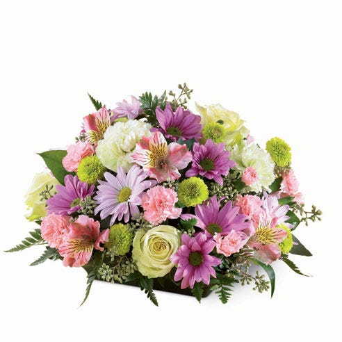 Sympathy pastel spring flowers arrangement with jade flowers, pink and green carnations