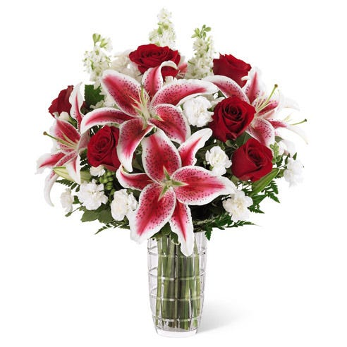 Anniversary bouquet with red roses and lilies