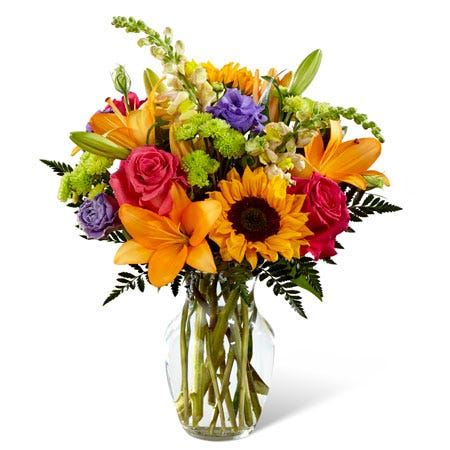 Orange lily and sunflower summer bouquet with hot pink roses and green mums