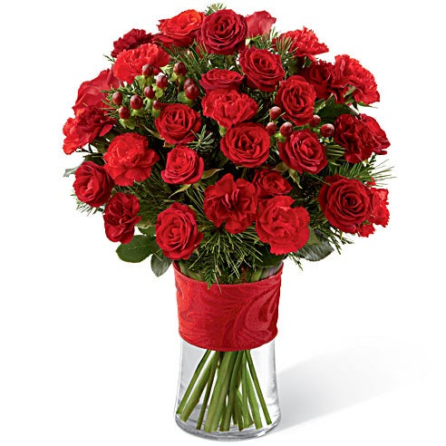 Red spray roses and carnations for delivery today by a florist