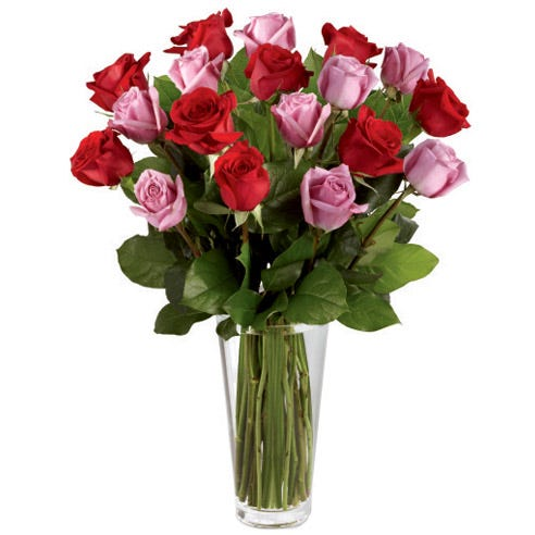 long stem red and purple roses bouquet with tall clear glass vase and salal