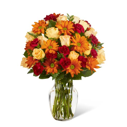 Fall orange flower bouquet for delivery from local florist with cheap flowers
