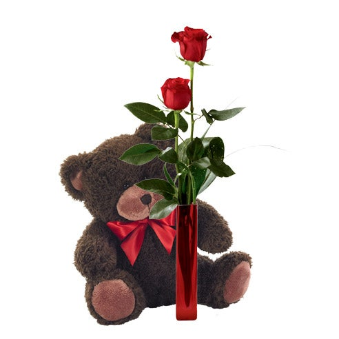 Single rose delivery with one rose and shy teddy bear delivery
