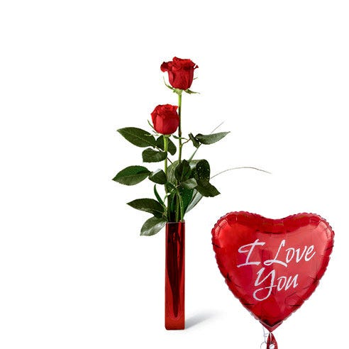 I love you balloon with a single long stem red rose bouquet