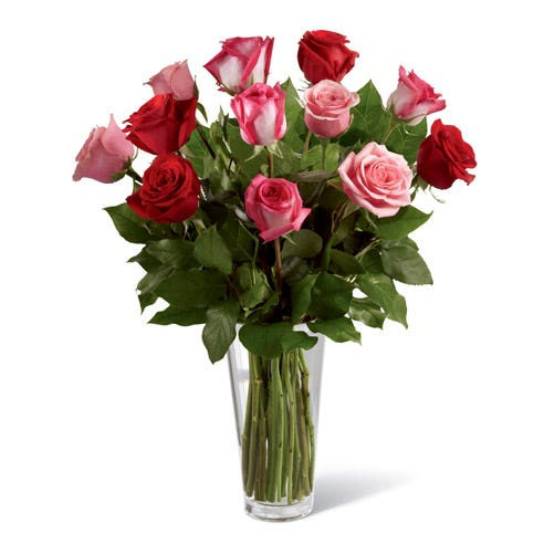 Floating dreams roses bouquet with pink, red and fuchsia long stem roses