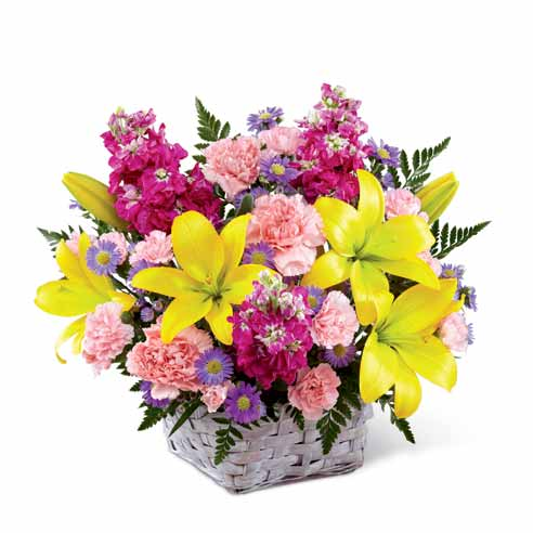 Flowers in a basket for same day delivery flower basket from send flowers com