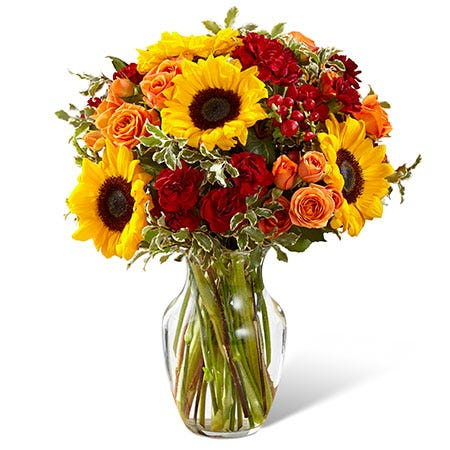 Sanguine sunflower fall flower bouquet with orange roses, red berry and sunflowers