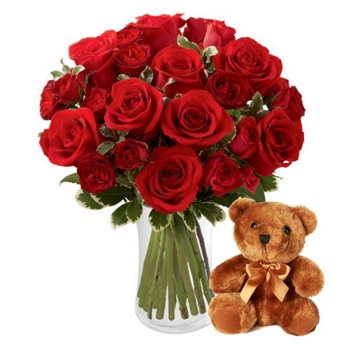 Red rose and red spray rose flower bouquet with stuffed animal teddy bear gift
