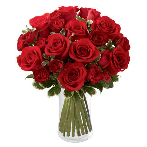 Red roses bouquet with full red roses and miniature red roses in glass vase