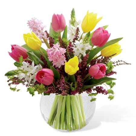 Mixed tulip delivery in glass vase with yellow and pink tulips flower delivery