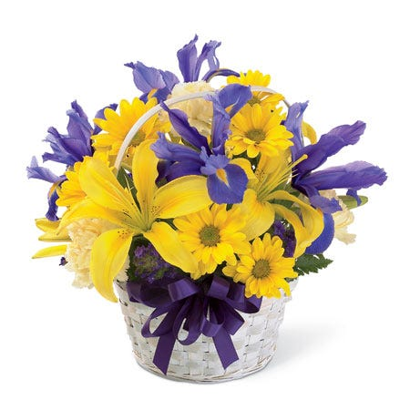 Mixed yellow lily and daisy flower basket bouquet with purple irises