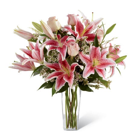 Light pink roses and stargazer lily bouquet with stargazer flower delivery and pink lily