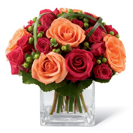 Fall rose bouquet delivery with orange roses, pink roses and cheap flowers