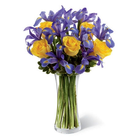 yellow rose and iris bouquet