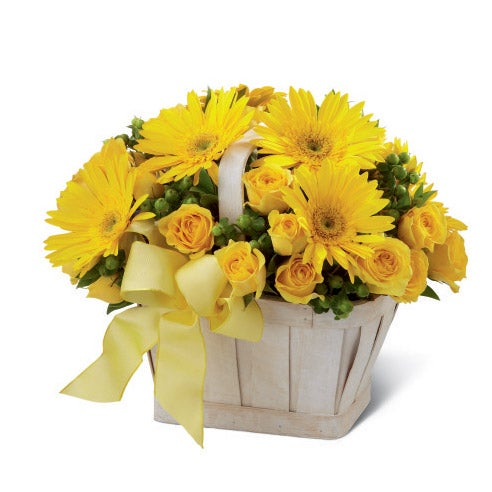 Yellow gerbera daisies and yellow spray roses for best gifts for administrative professionals day