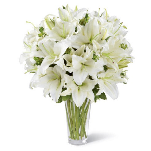 Easter flower arrangement of white lily flowers for Easter gift ideas