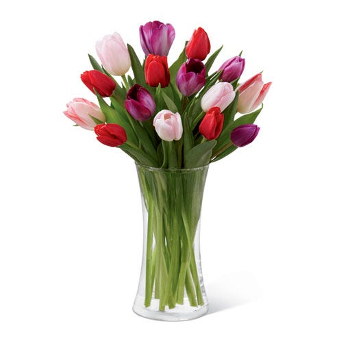 Dark colored mixed tulips flower bouquet delivered in a cylinder curved vase