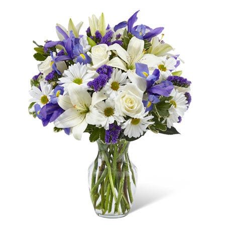 White flower and iris flower delivery bouquet with pretty cheap flowers