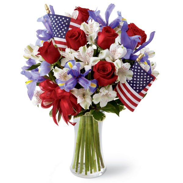 Red roses, blue iris, white alstroemeria for same day flower delivery