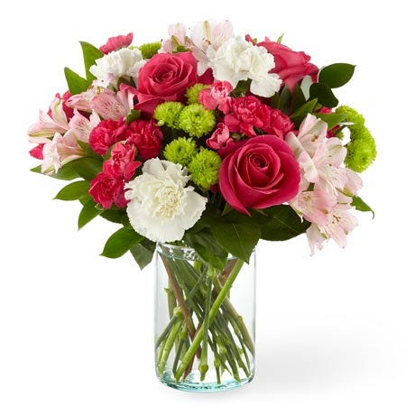 Valentine's Day flower delivery under 50 with pink roses and cheap flowers