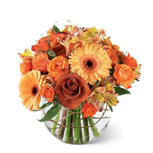 Orange roses, orange gerbera daisies and orange alstroemeria