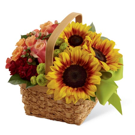 Basket bouquet and sunflower arrangements from send flowers online