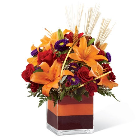 Orange lily and red rose bouquet for flowers delivery