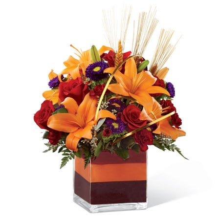 Happy Sweetest Day for him autumn gift orange lily arrangement